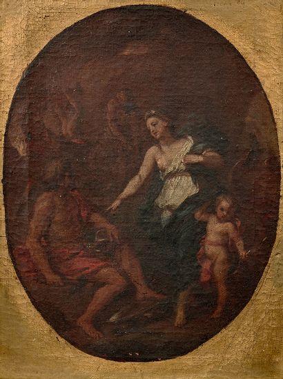 École FRANÇAISE du XVIIIe siècle Vénus et Vulcain, d'après Louis de Boullogne Huile...