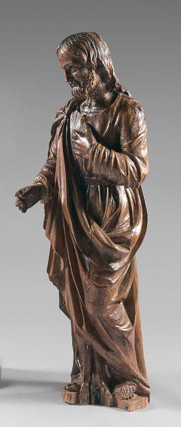 Statue d'un saint Joseph en tilleul (?) dos...