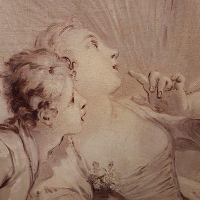 École Française du XIXe siècle Le couple surpris, d'après Boucher Huile sur toile...