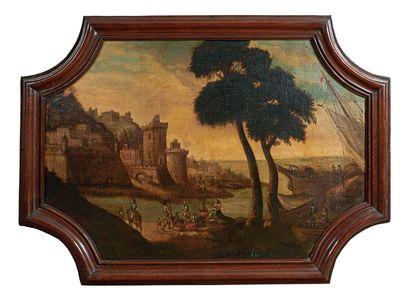 École Française du XVIIe siècle Paysage fluvial animé de personnages Huile sur toile...