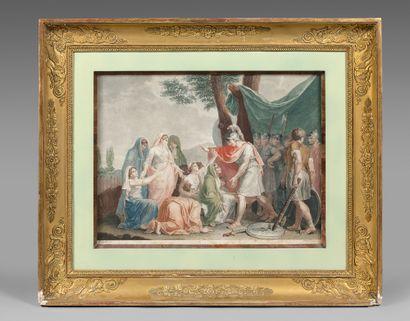 Deux gravures en couleur : Le jugement de Salomon et La clémence de Darius, d'après...