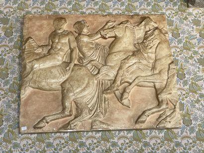 Bas-relief en plâtre patiné d'après la frise...