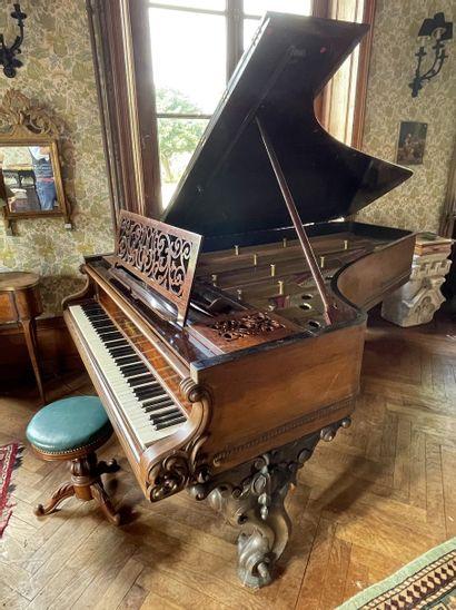 Piano à queue en palissandre et placage de...
