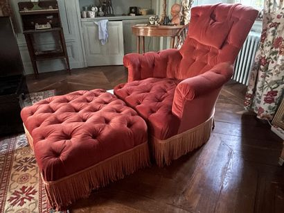 Chaise longue, garniture de velours corail...