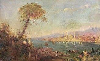 ECOLE du XIXe siècle Vue du Bosphore Huile...