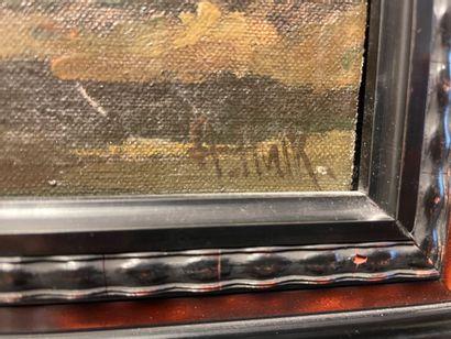 ECOLE MODERNE Moulin et voilier Huile sur toile, porte une signature en bas à droite....