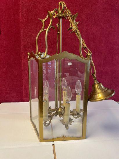 Lanterne cage en bronze, montants à boules....