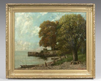 Gustave COURBET (1819-1877) et Cherubino PATA (1827-1899) Bord du lac Léman vers...
