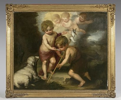 ECOLE ESPAGNOLE du XIXe siècle, d après MURILLO L enfant Jésus et saint Jean-Baptiste...