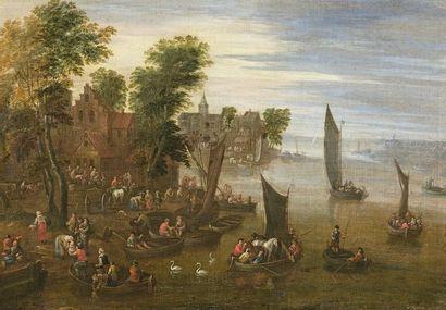 Matthys SCHOEVAERDTS (actif à Bruxelles vers 1665) Paysage au moulin Paysage aux...