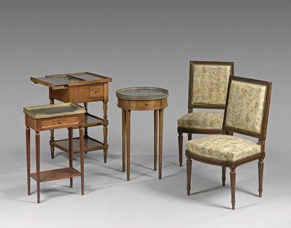 Paire de chaises à dossier plat sculpté d...