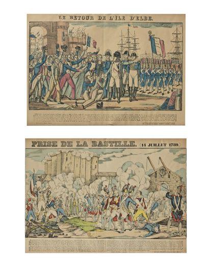 Série de treize images d Epinal représentant des scènes Napoléoniennes. Imprimerie...