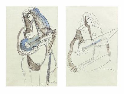 C. DI FELTRE Guitaristes Deux dessins à l...