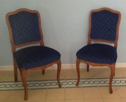 Paire de chaises à dossier plat cintré en...