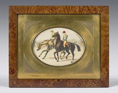 Lithographie ovale en couleur : Deux jockeys....