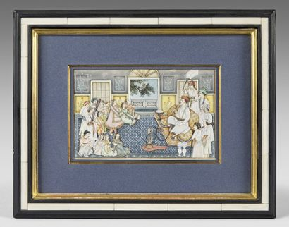 Neuf miniatures persanes, de style Moghol,...