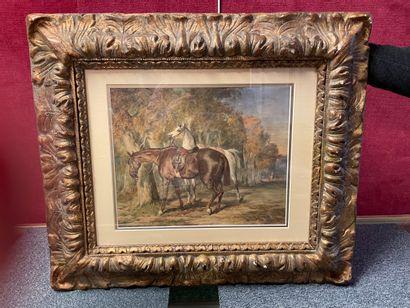 ECOLE du XIXe siècle Relais de chevaux Aquarelle...