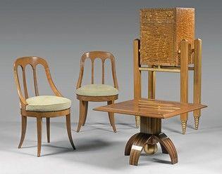 Paire de chaises en merisier à dossier gondole...