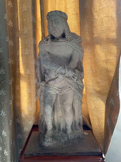 Statue en pierre calcaire sculptée d un Christ...