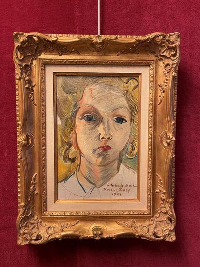 Raoul DUFY (1877-1953) Portrait de Madame Rolande Mucha, 1948 Huile sur toile, signée,...