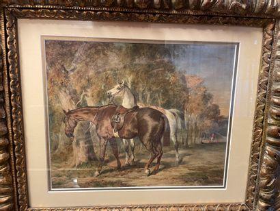 ECOLE du XIXe siècle Relais de chevaux Aquarelle gouachée, porte une signature apocryphe...