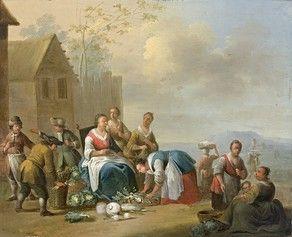 ECOLE FLAMANDE du XVIIe siècle Scène de marché...