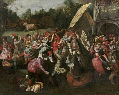 ECOLE FLAMANDE du XVIIe siècle Scène de liesse...