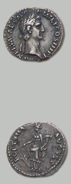 NERVA (96-98) Denier. Sa tête laurée à droite....