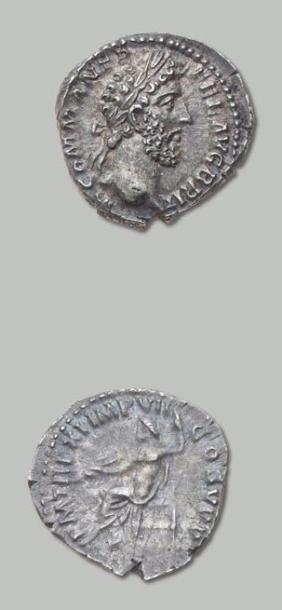 COMMODE (177-192) Denier. Sa tête laurée...
