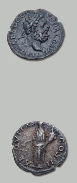 ALBIN (195-197) Denier. Sa tête laurée à...