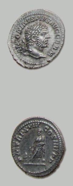 CARACALLA (198-217) Denier. Sa tête laurée...