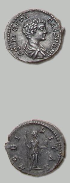 GETA (209-212) Denier. Son buste nu et drapé...