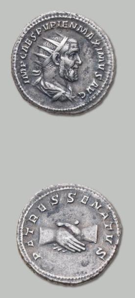 PUPIEN (238) Antoninien. Son buste radié...