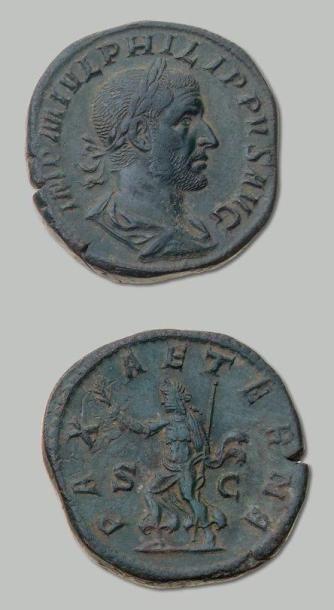 PHILIPPE 1er (244-249) Sesterce. Son buste...