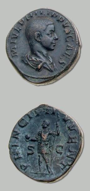 PHILIPPE II (247-249) Sesterce. Son buste...