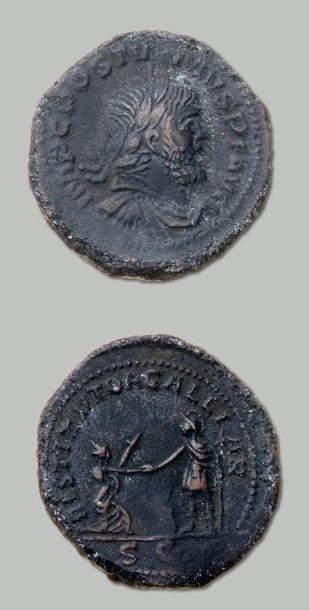 POSTUME (259-168) Sesterce. Son buste lauré...