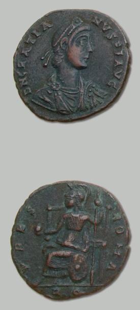 Médaillon de bronze (378-383). Aquilée. Son...