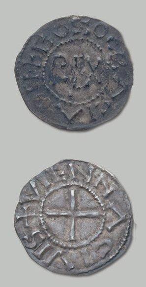 ROYAUME de PROVENCE Bozon (879-887). Denier...