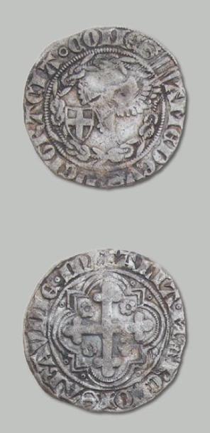 AMÉDÉE VIII (1391-1434) Demi-Gros d'argent,...