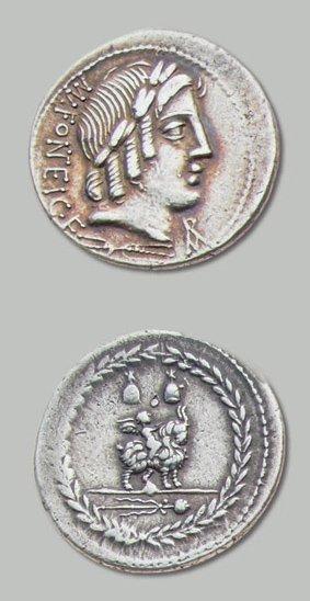 FONTEIA (85 av. J.-C.) Tête laurée d'Apollon...