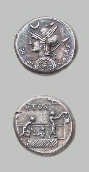 LICINIA (113-112 av. J.-C.) Buste de la déesse...
