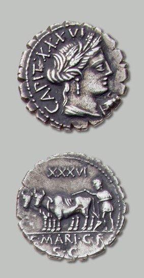 MARIA (81 av. J.-C.) Tête de Cérès couronnée...