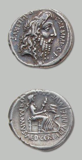 MEMMIA (56 av. J.-C-.) Tête barbue et laurée...