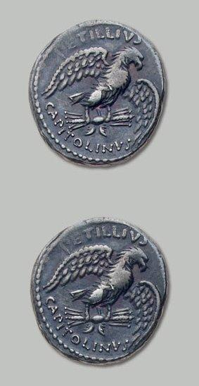 PETILLIA (43 av. J.-C.) Aigle éployé sur...