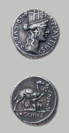 PLAUTIA (55 av. J.-C.) Tête tourelée de Cybèle...