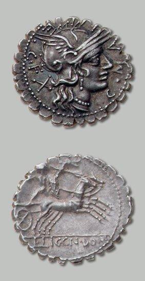 POBLICIA (118 av. J.-C.) Tête de Rome à droite....
