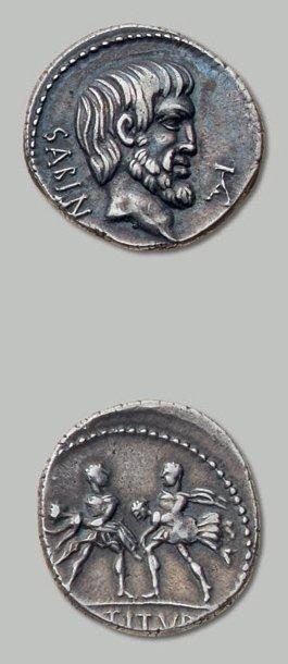 TITURIA (89 av. J.-C.) Tête nue et barbue...