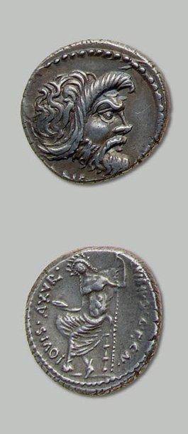 VIBIA (48 av. J.-C.) Masque de Pan à droite....