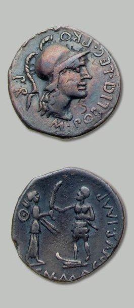 POMPÉE (+ 45 av. J.-C.) Tête casquée de Rome...
