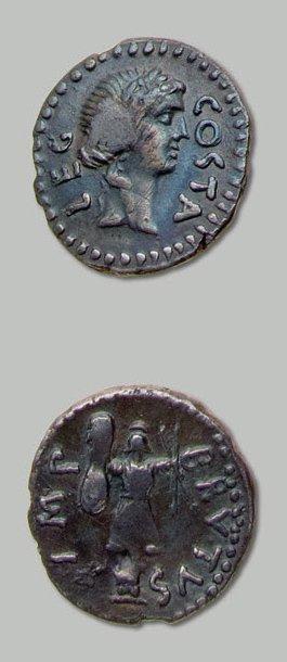 BRUTUS (+ 42 av. J.-C.) Tête laurée d'Apollon...